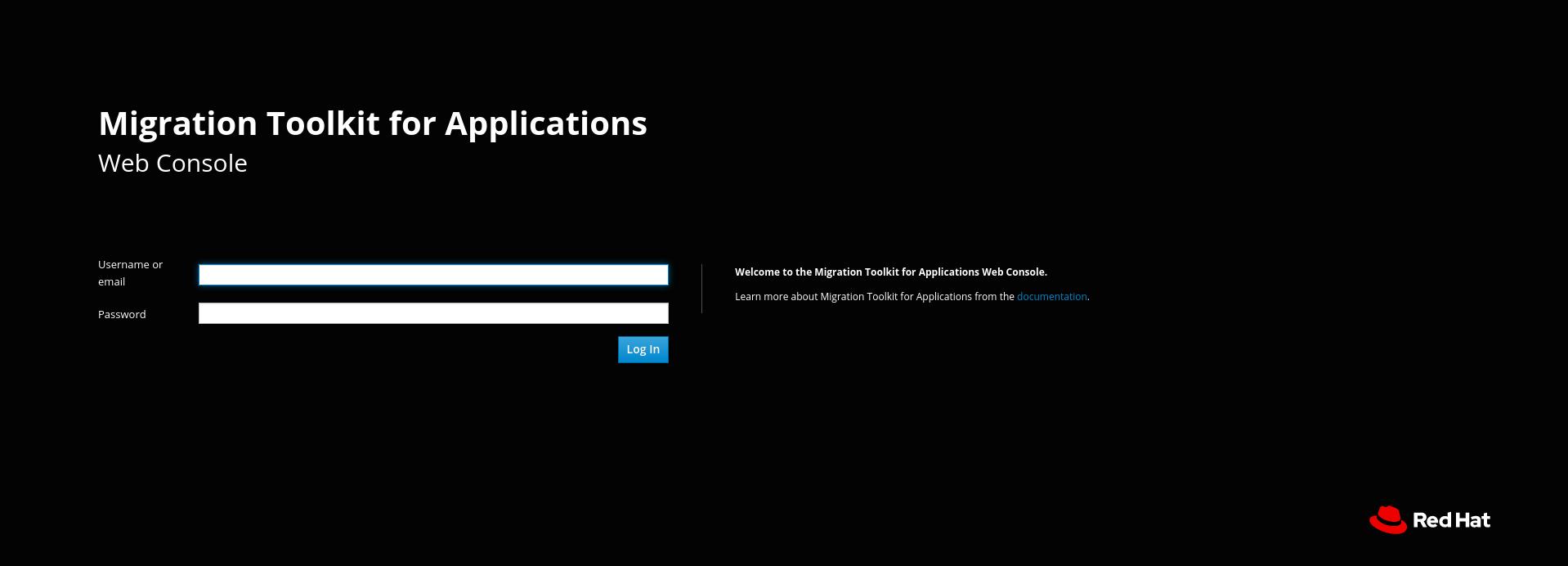 web console login page