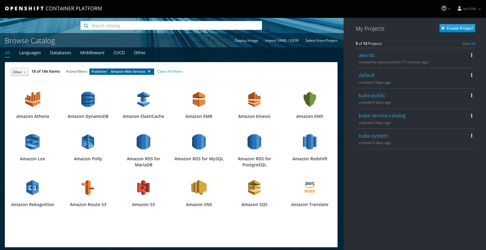AWS services in the service catalog