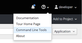 CLI dropdown from Help icon