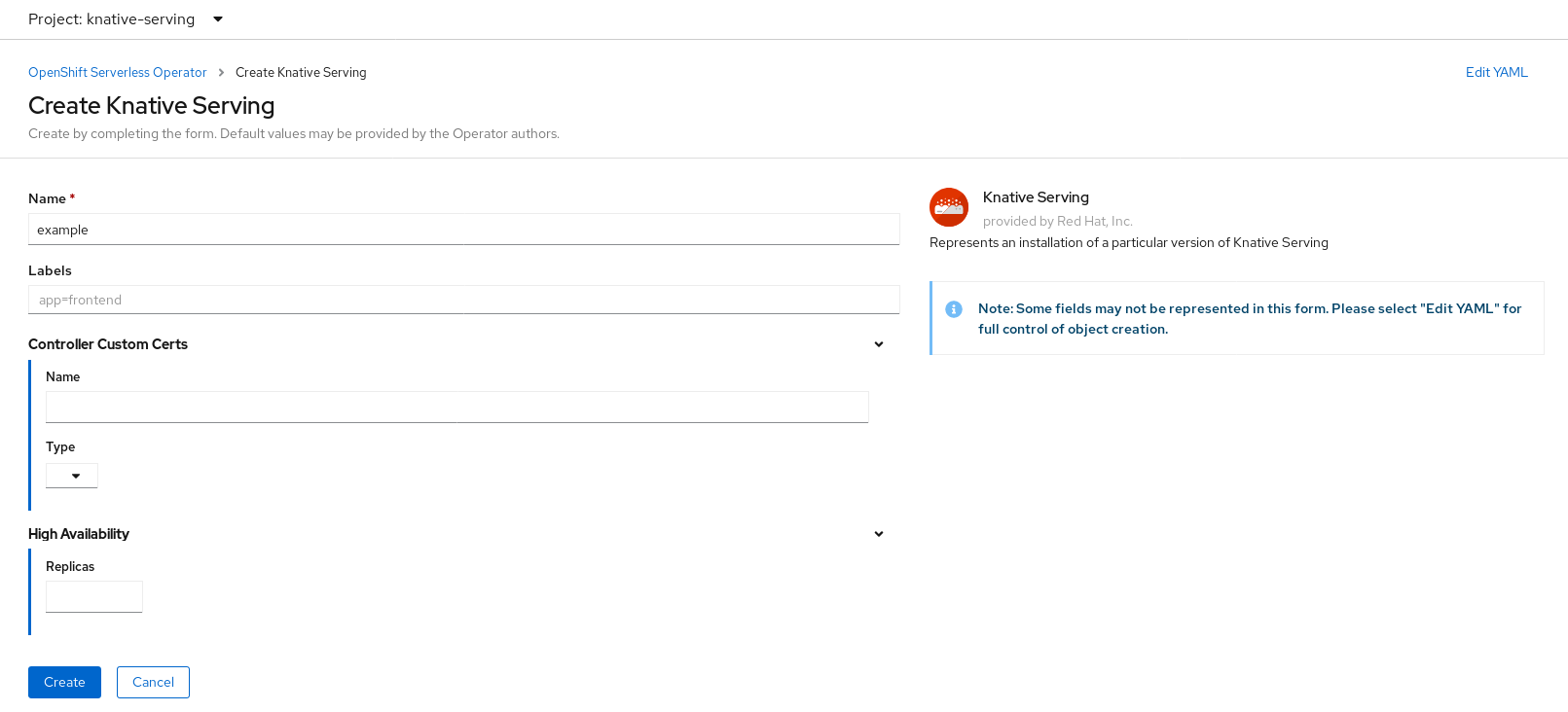 Create Knative Serving in Form View
