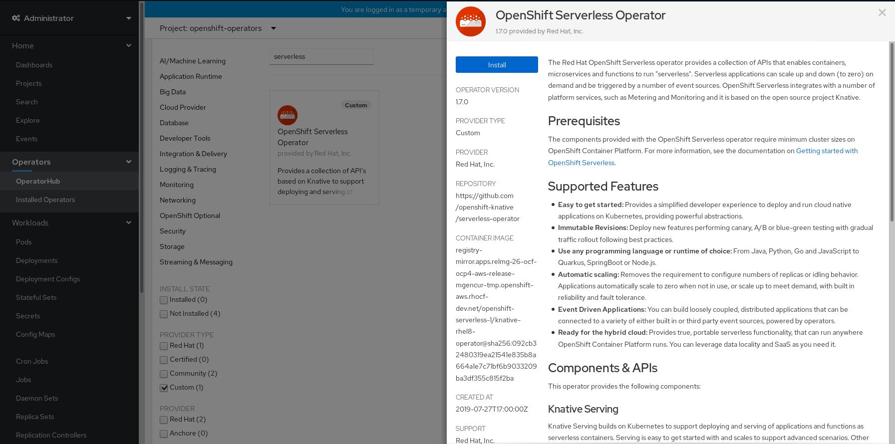 OpenShift Serverless Operator information