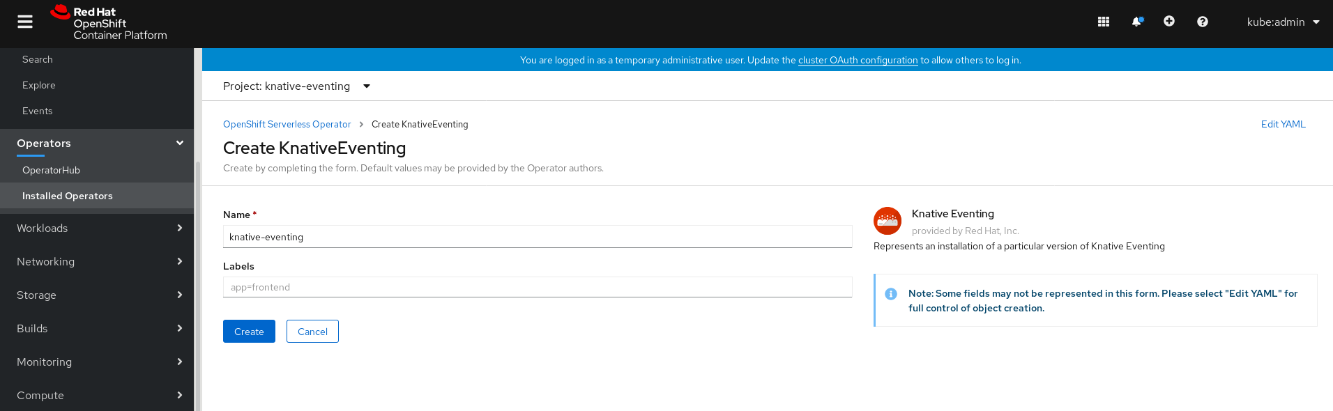 Create Knative Eventing using the form