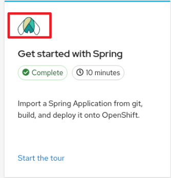 quick start icon element in the web console