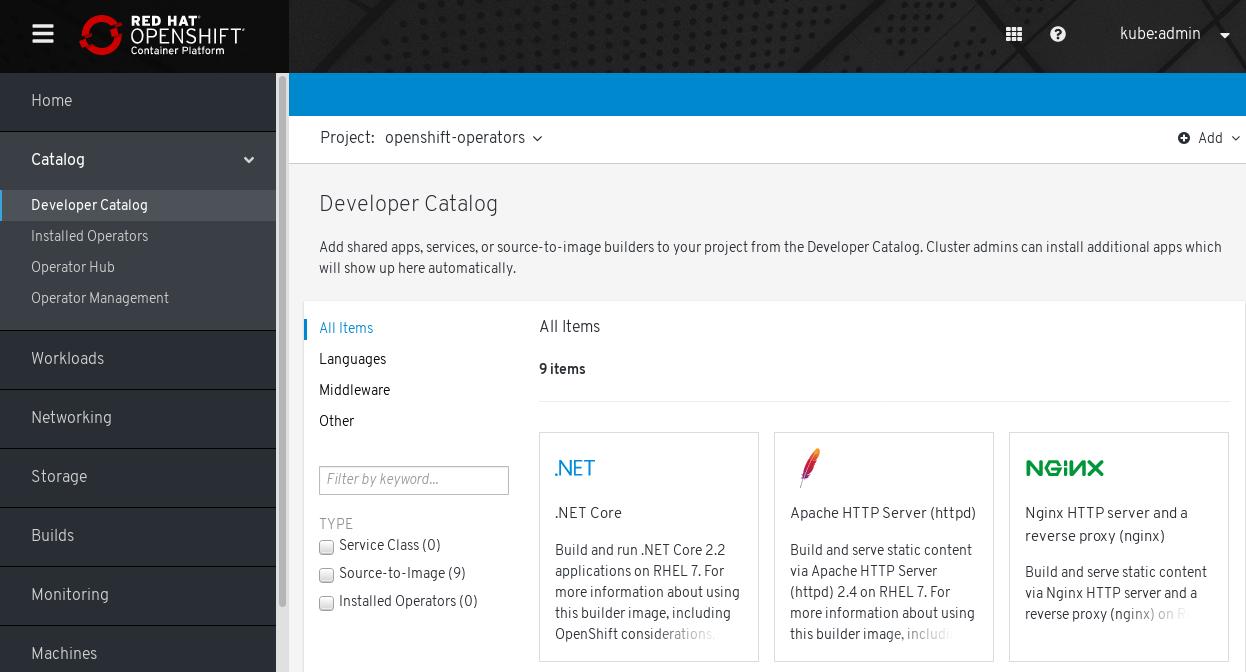 OpenShift Container Platform 개발자 카탈로그