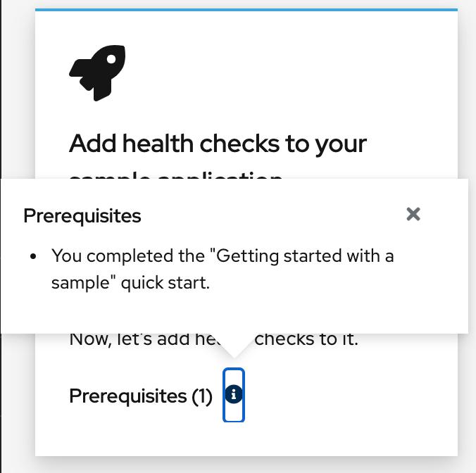quick start prerequisites displayed as popover