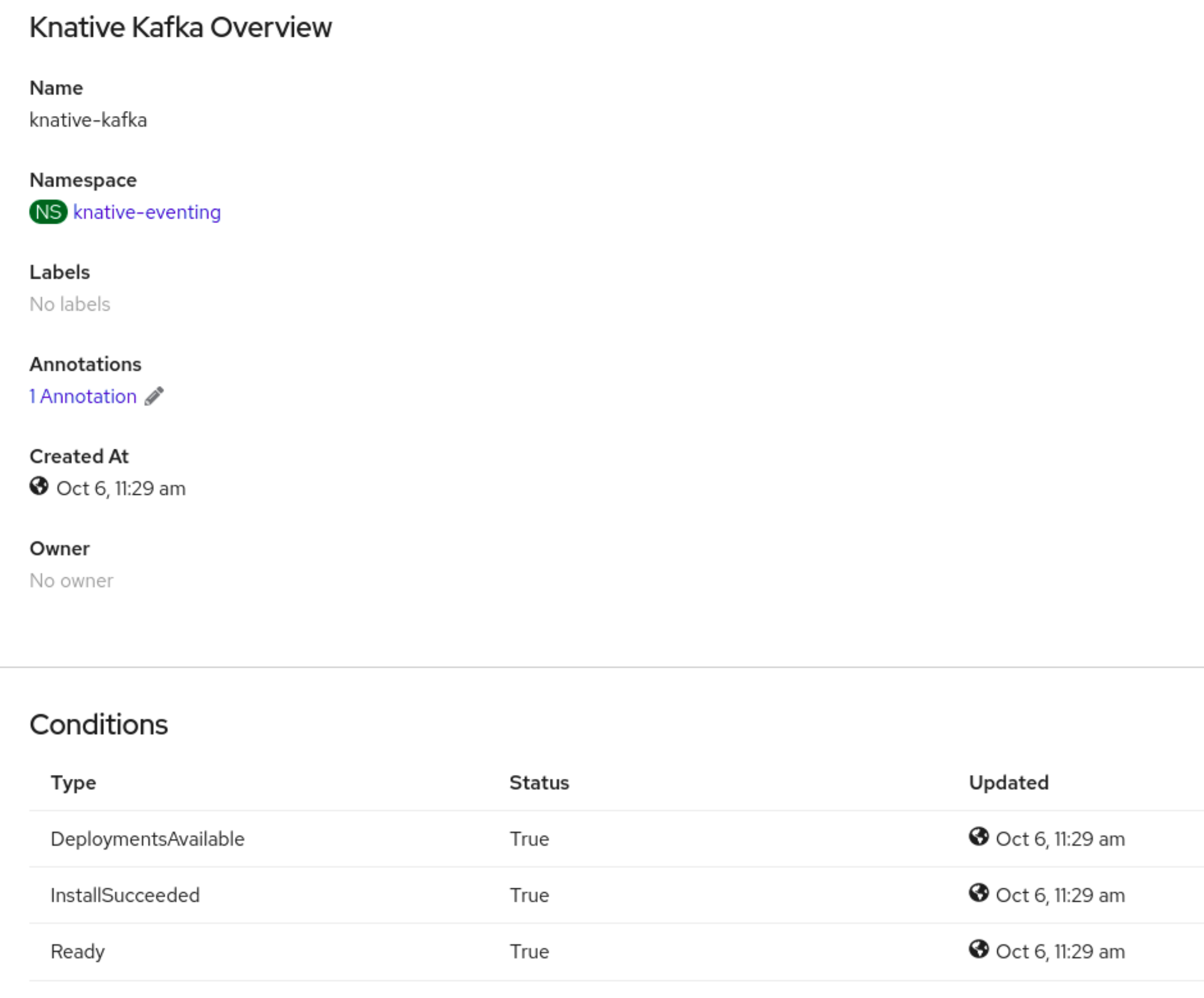 Kafka Knative Overview page showing Conditions