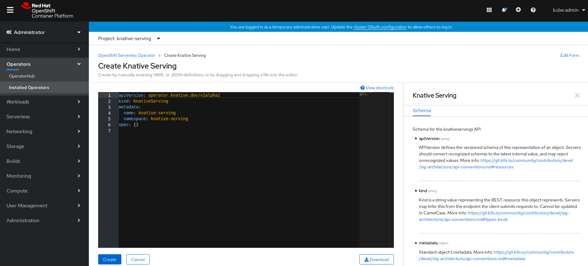 Create Knative Serving in YAML view