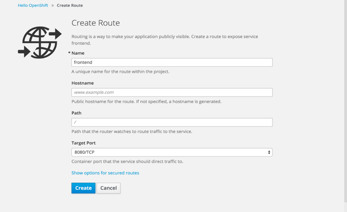 Creating a Route Using the Web Console