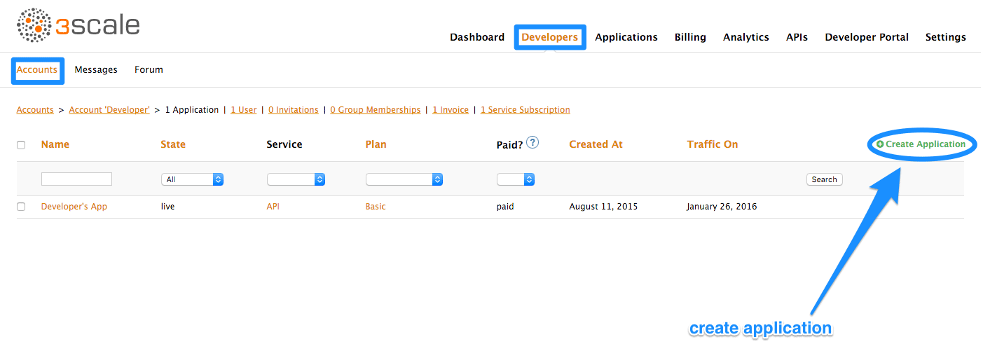 Add applications to new account