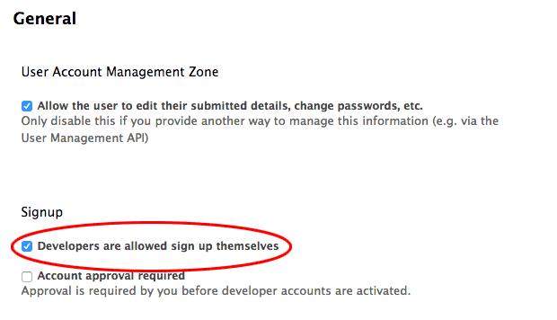Developer signup flow signup