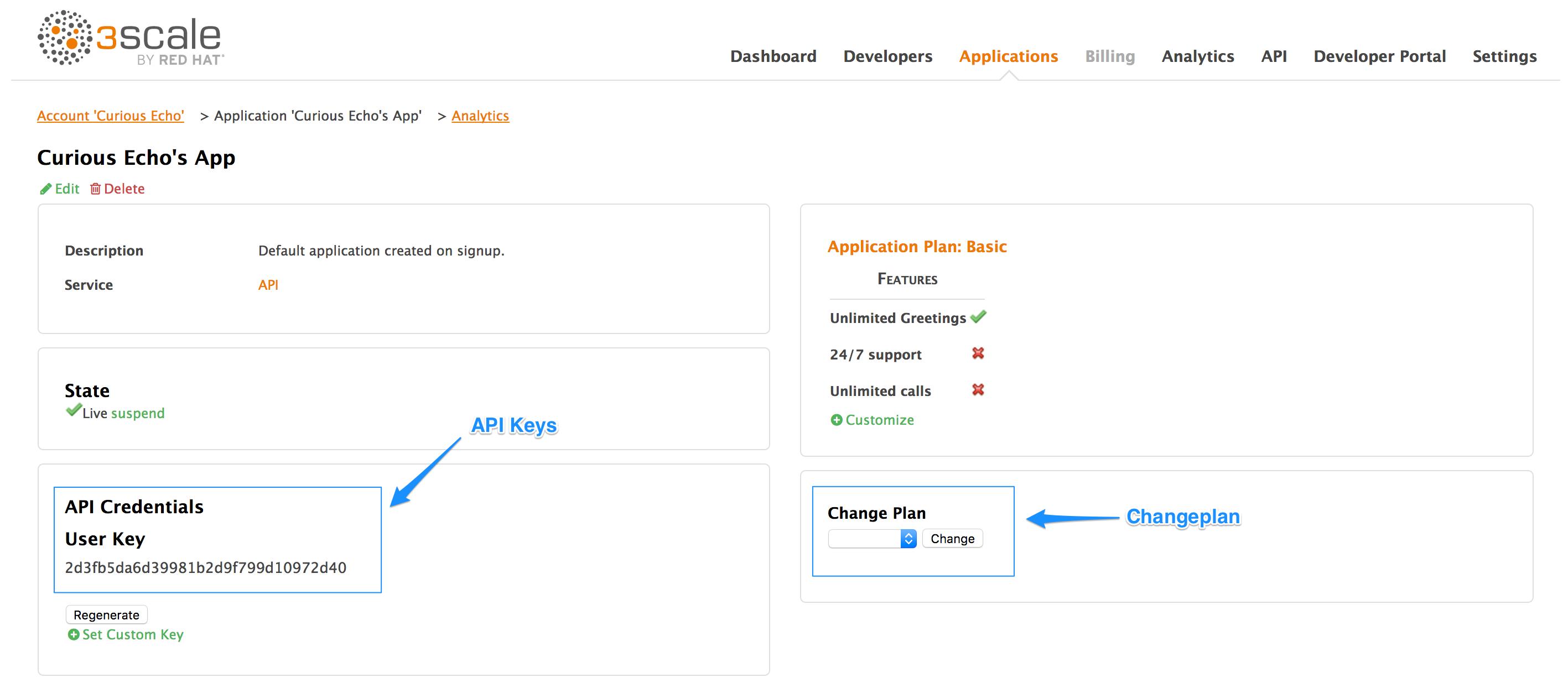API keys and change plans