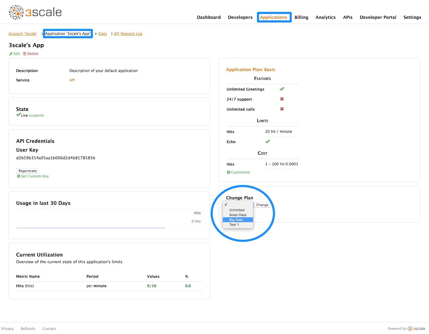 Change application plan