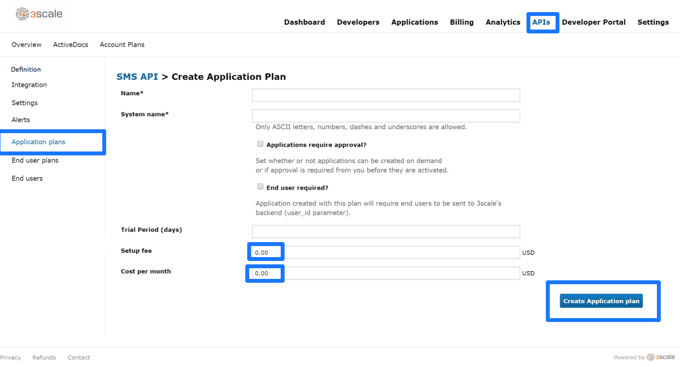 Create new application plan or edit existing