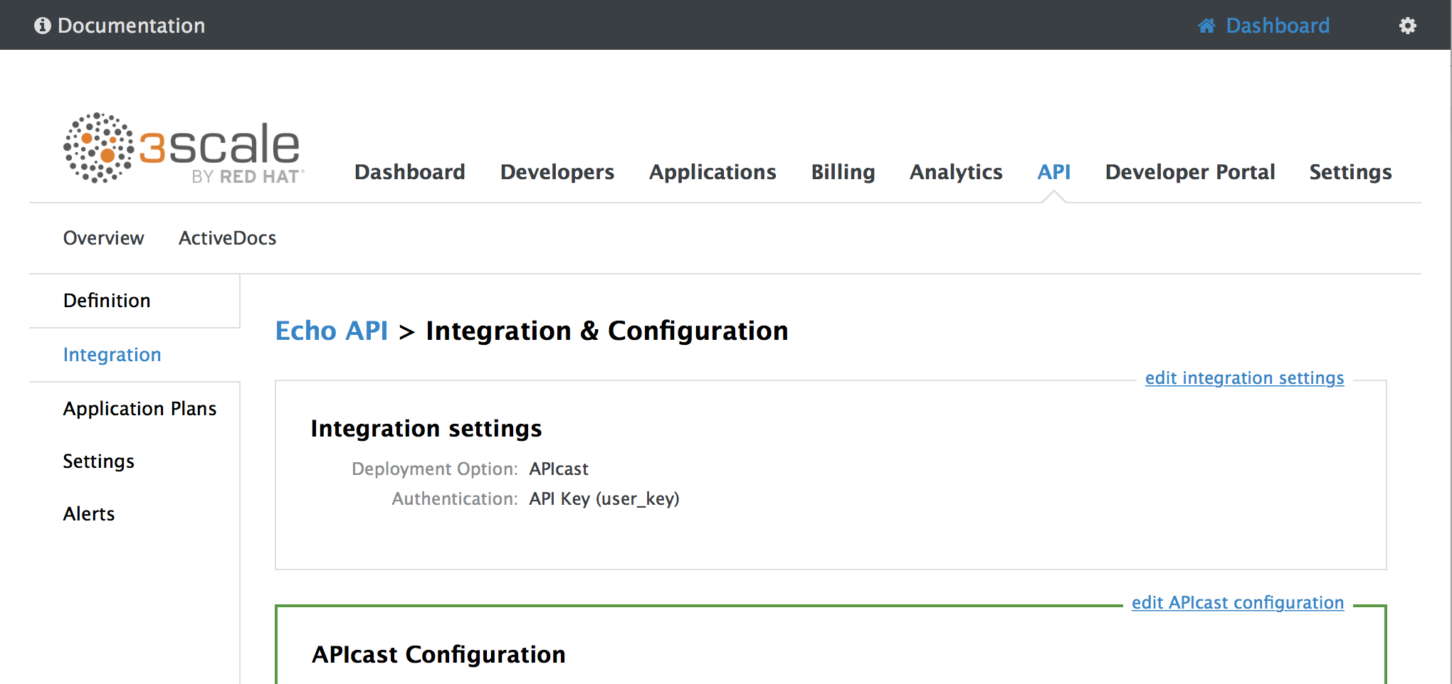navigate to APIcast configuration page