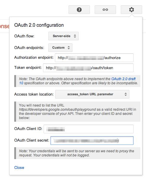 Google OAuth Playground Settings