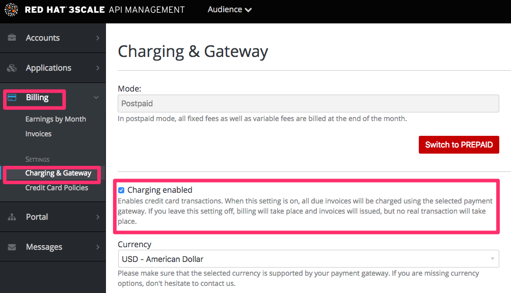 Billing charging enabled