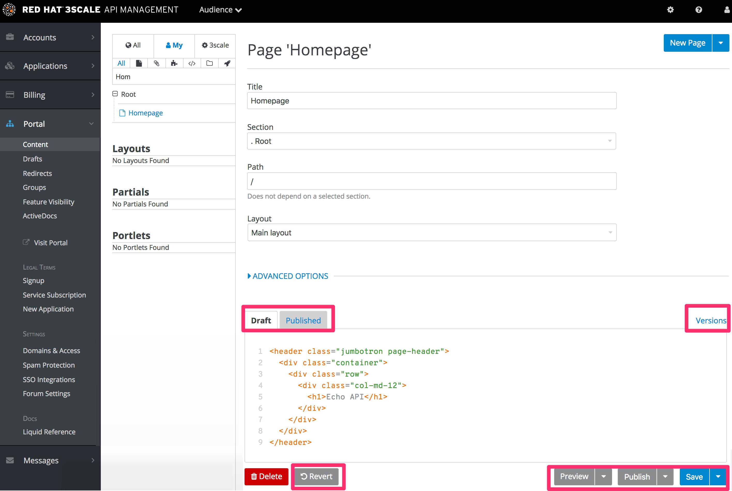 Developer portal layout highlight