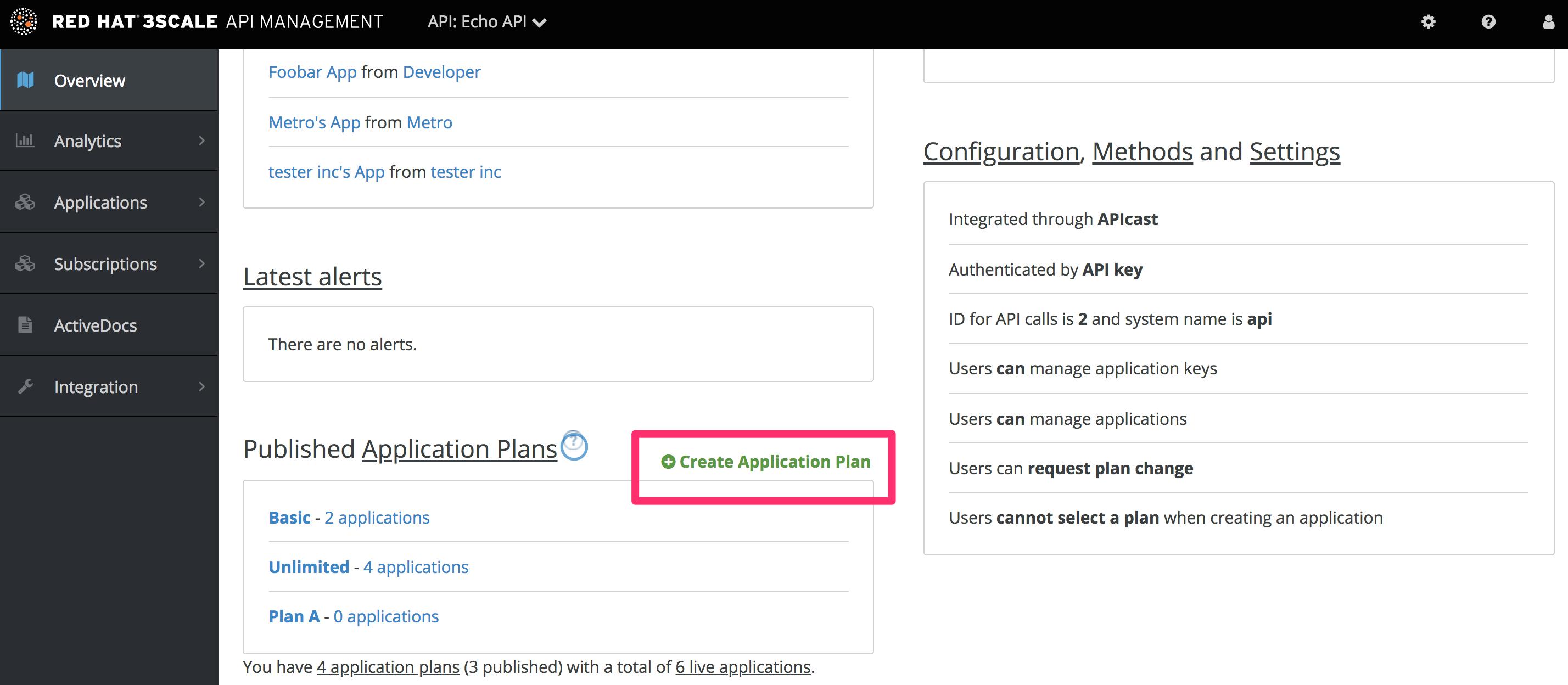 Create application plan