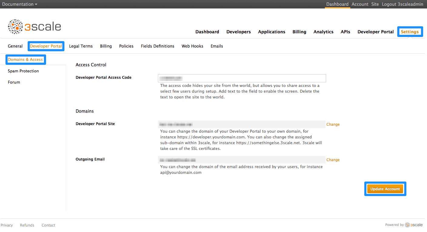 Developer portal access code