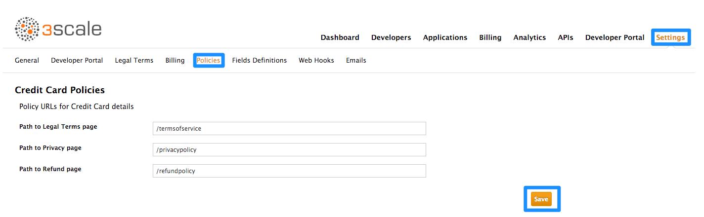 Developer policy urls