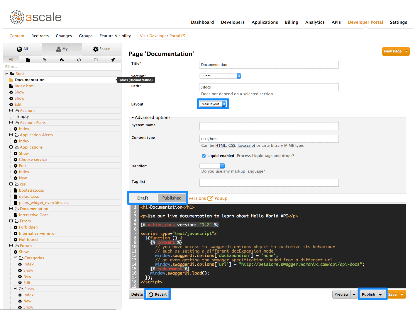 Developer portal content page
