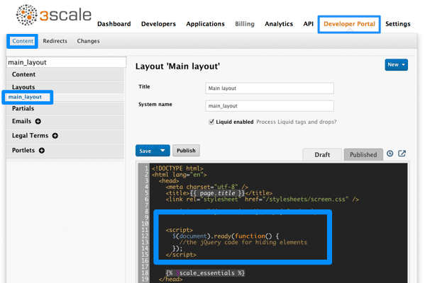 Developer portal modify built-in pages