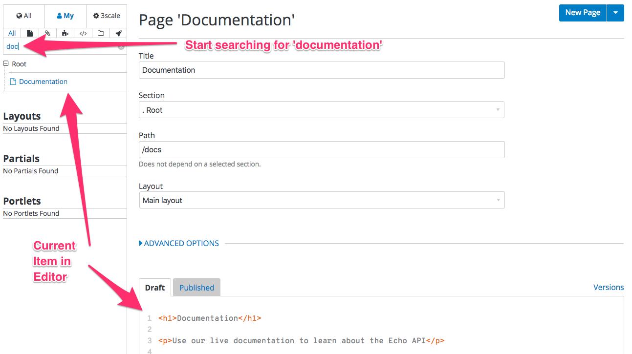 Find content in Developer Portal