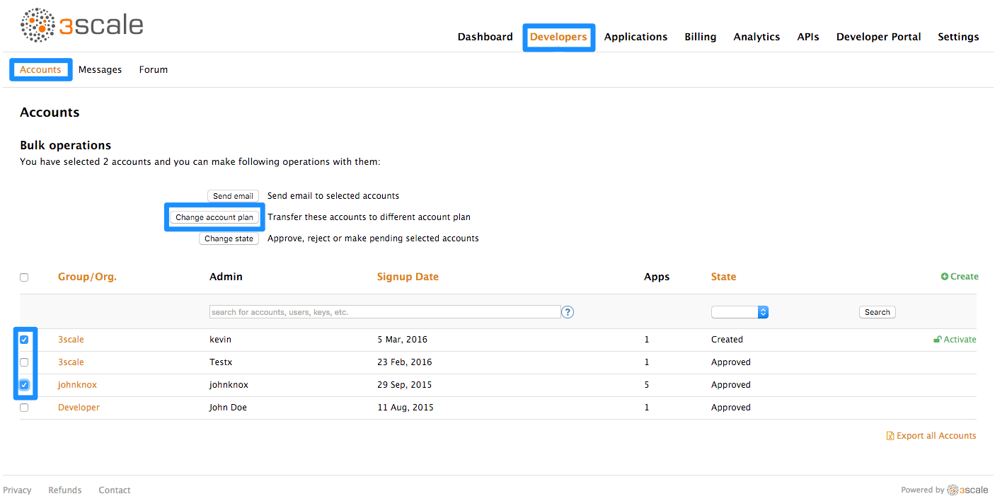 developer change account plans