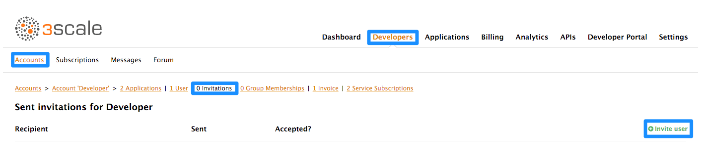 Developer invite user