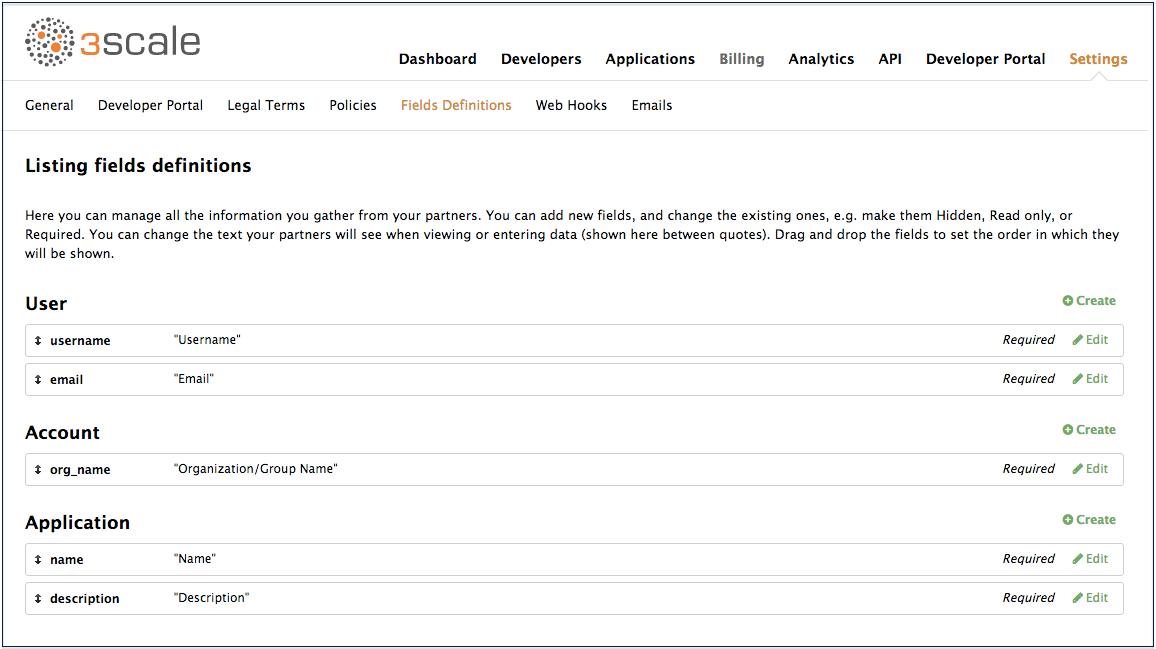 field definitions default fields
