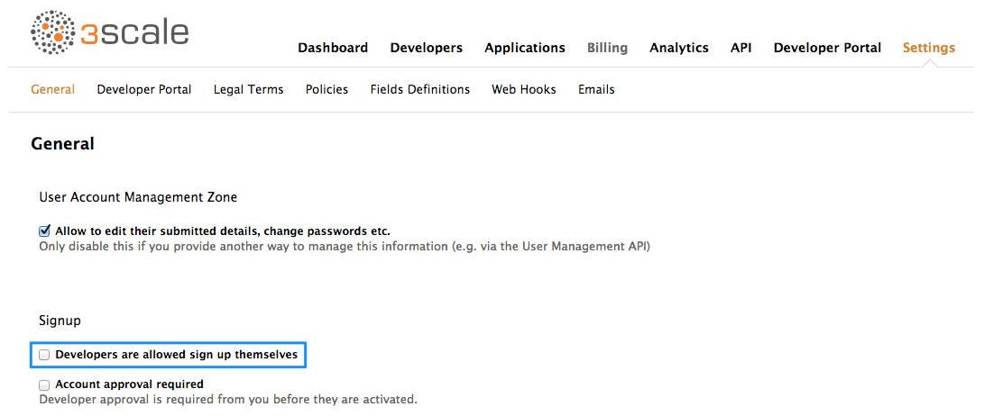 Customer disable signup