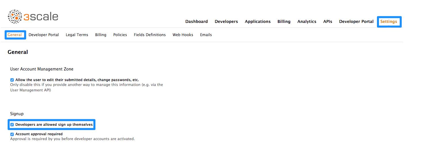 Enable self-service developer signup