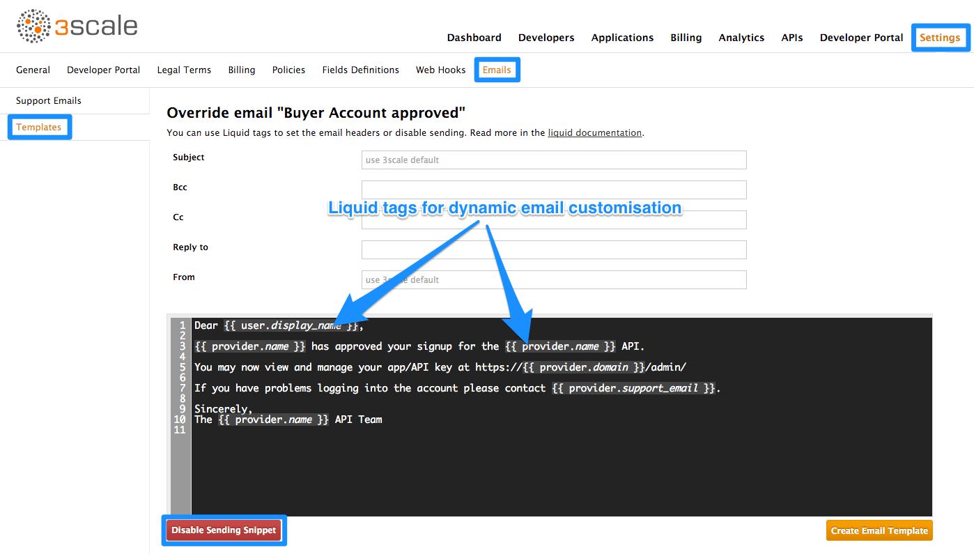 Developer portal email template edit