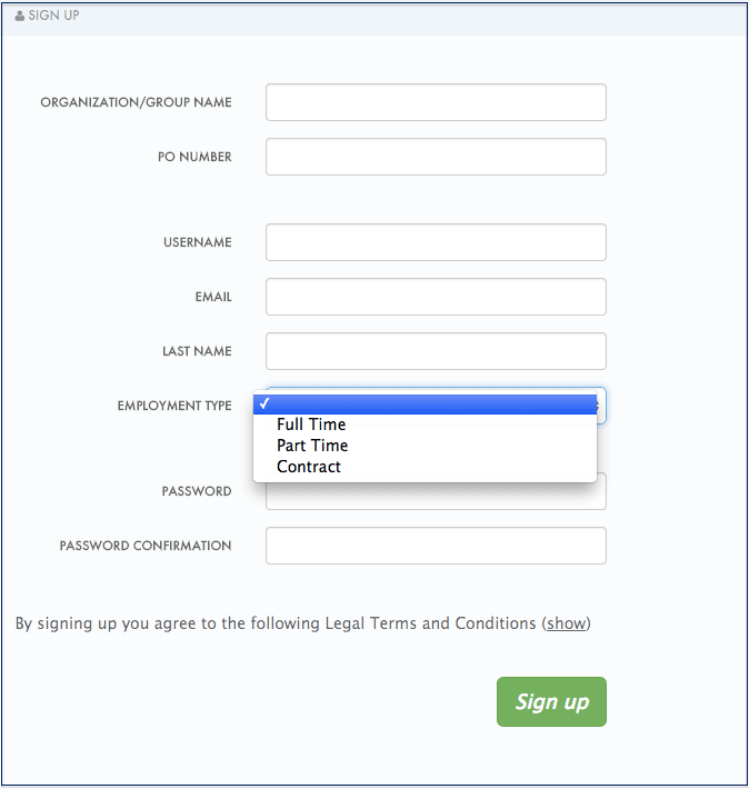 signup with new fields