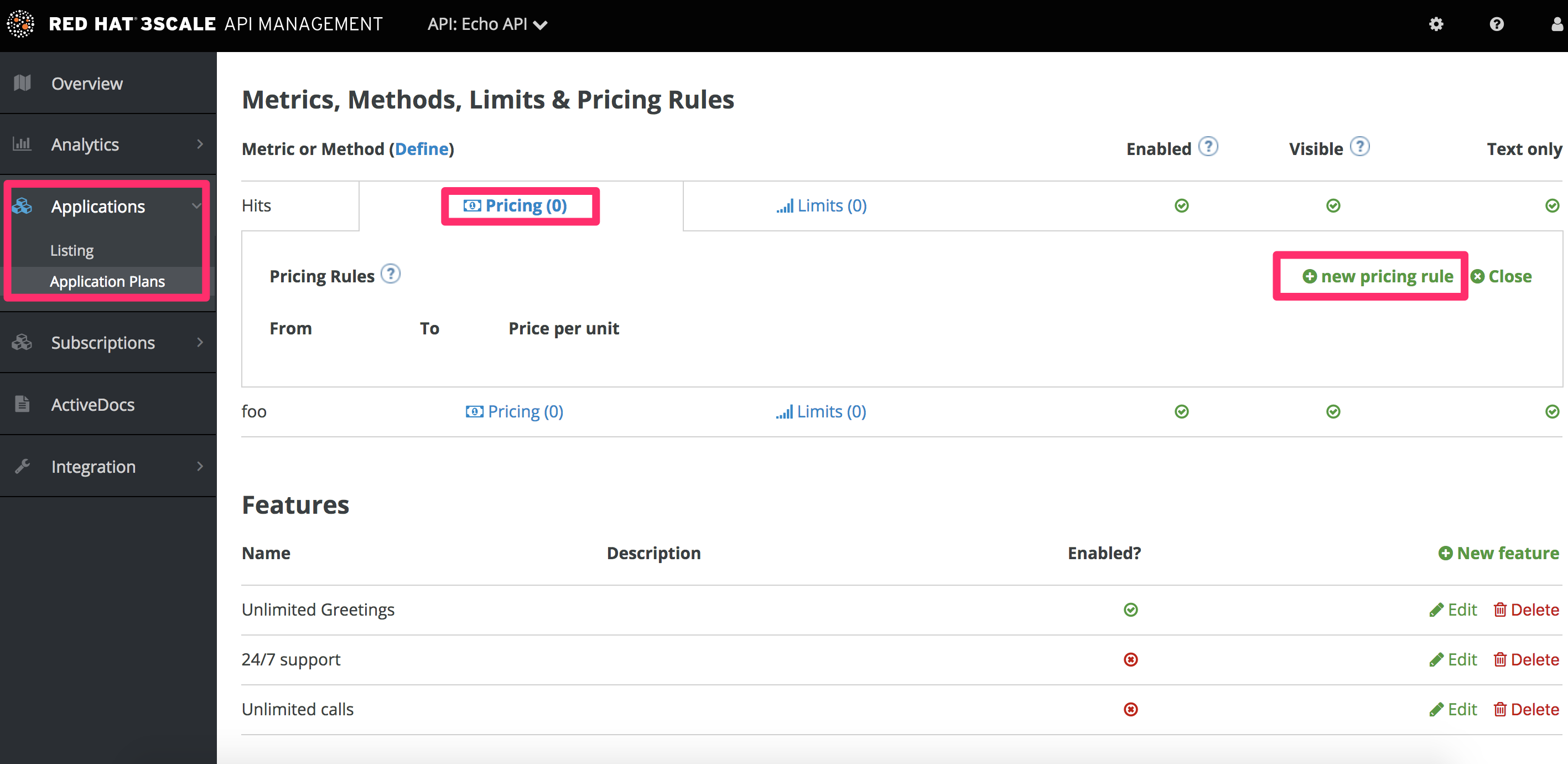 Zoom in to edit pricing rule in application plan