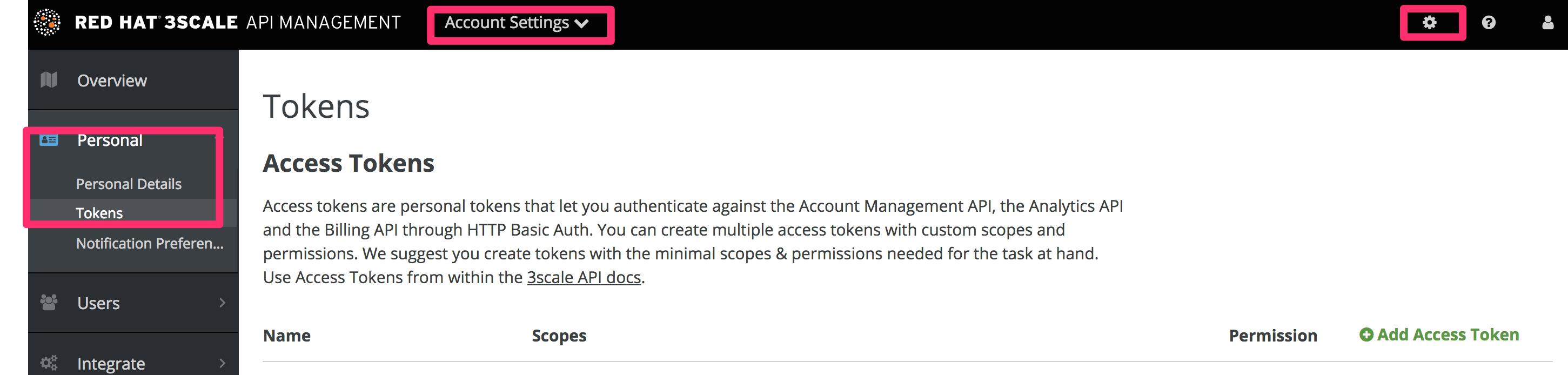 Access tokens screen