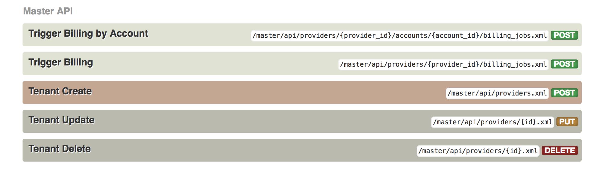 Master API section