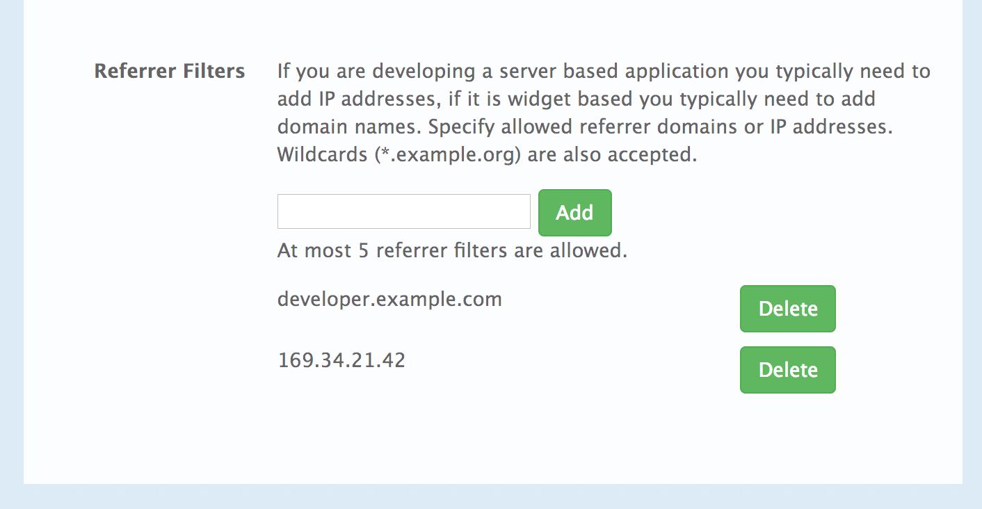 Configure Referrers in the Developer Portal