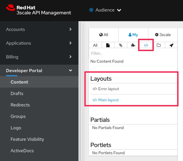 Developer Portal: main layout