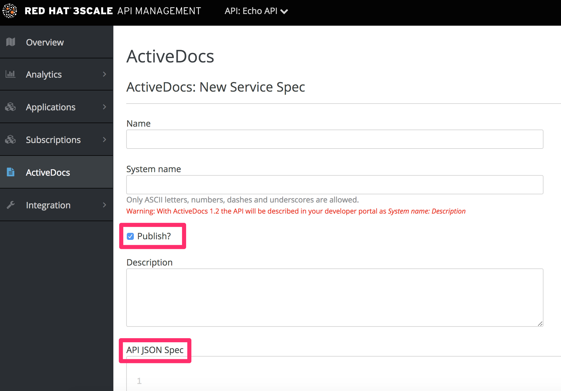 Create a service specification for ActiveDocs
