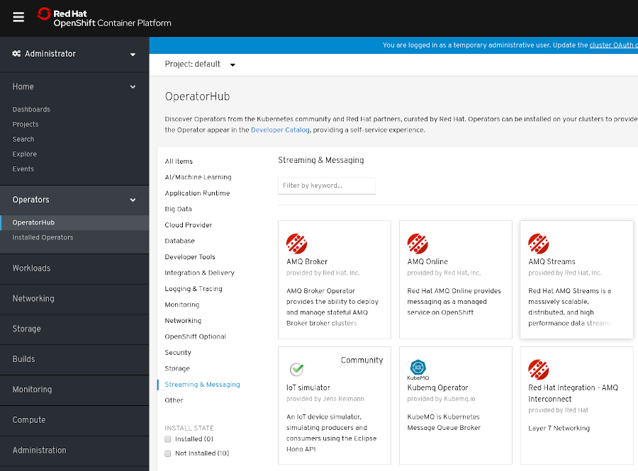 Image: The AMQ Streams Operator in the OperatorHub in OpenShift 4