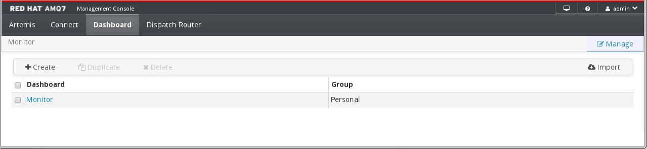 AMQ Management Console Dashboard Manage