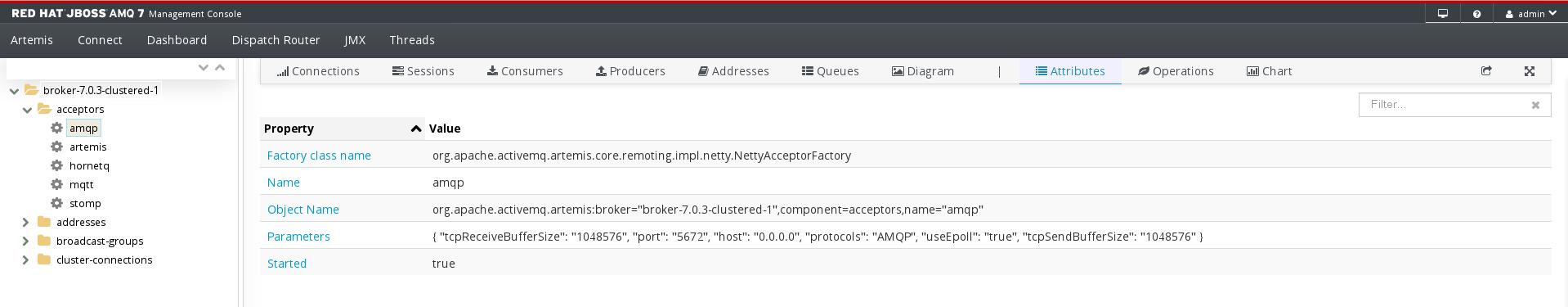 AMQ Management Console AMQP Acceptor Attributes