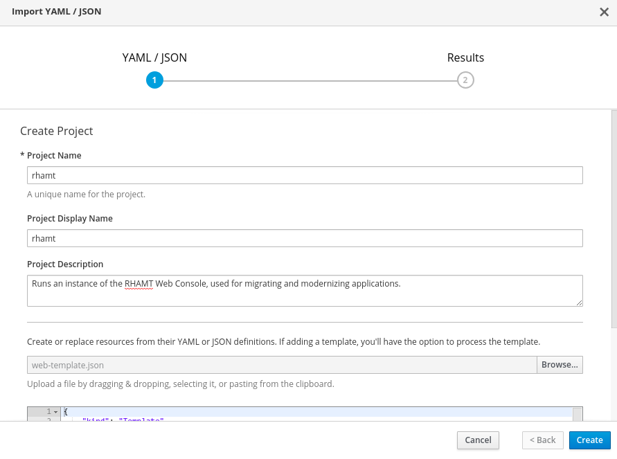 openshift import template