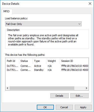 mpio set failover only mod