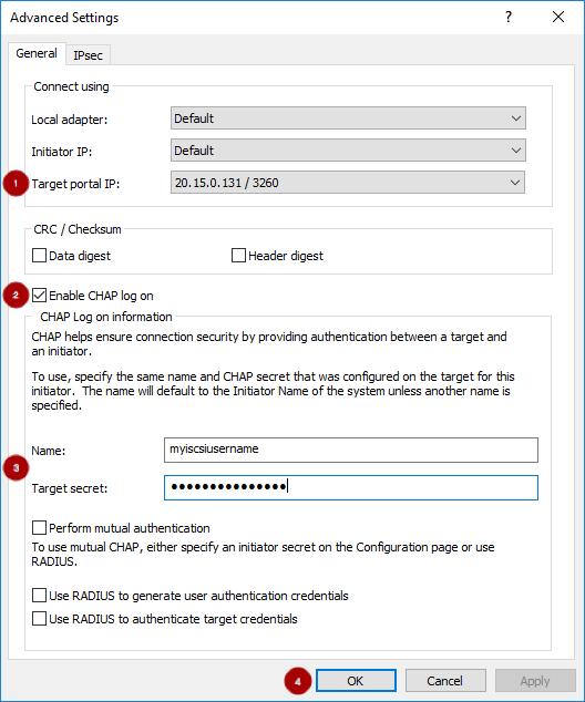 iSCSI Advanced window mod