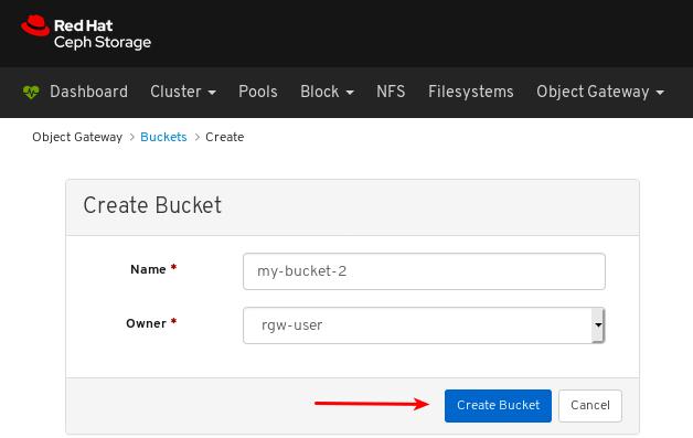 Click Create Bucket