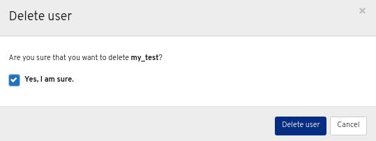 Delete User window