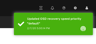 OSD recovery speed priority updated notification