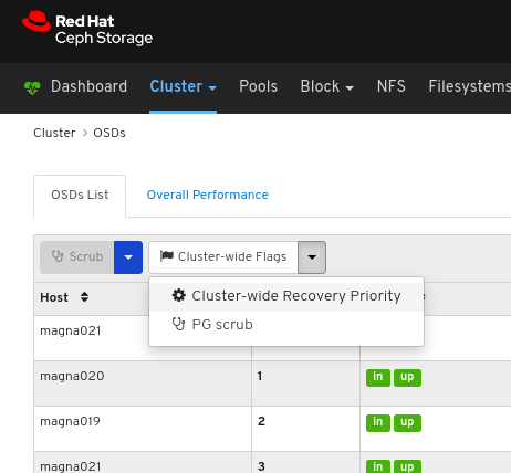 Select Cluster-wide Recovery Priority.